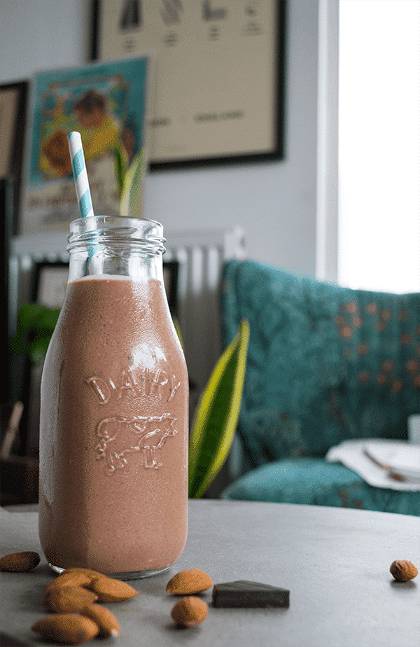 keto almond butter chocolate smoothie