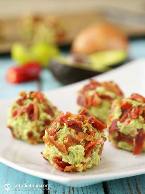 Savory Keto Fat Bombs made with bacon and avocado guacamole - great for a ketogenic diet