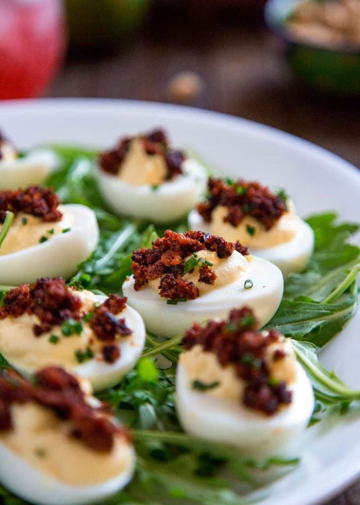 chorizo fat bombs - keto devilled eggs with chorizo - great for a ketogenic diet