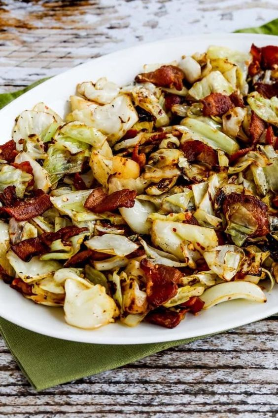 inexpensive keto recipe - fried cabbage and bacon
