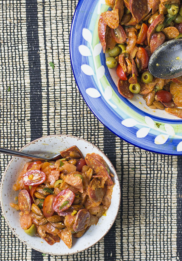 keto chorizo and tomato salad