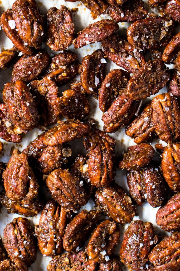 keto christmas snacks - candied pecans