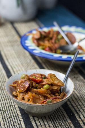 keto tomato salad with chorizo