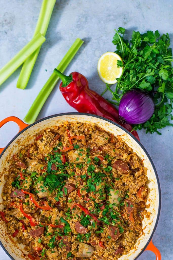 low carb keto jambalaya with chorizo and chicken