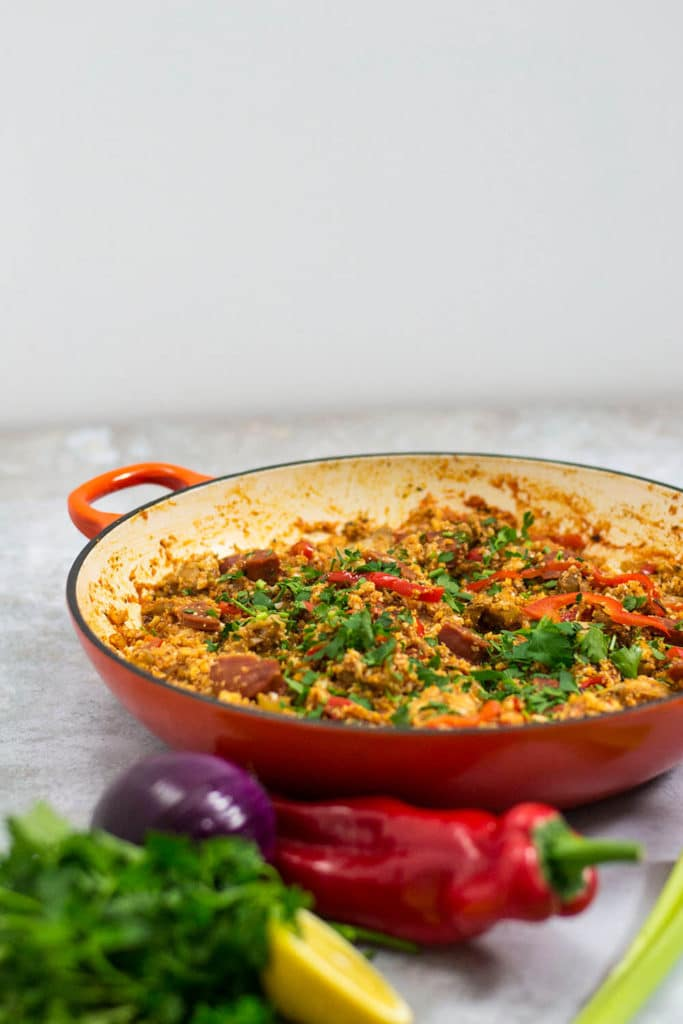 keto jambalaya with chicken and chorizo