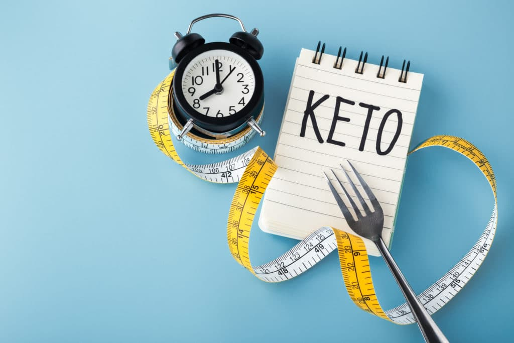 keto and intermittent fasting image - a clock and keto with a tape measure