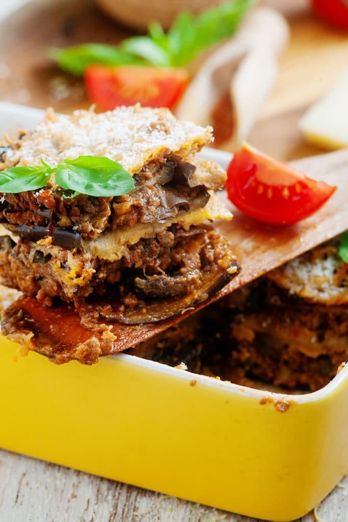 portion of keto lasagna with pork and mushroom