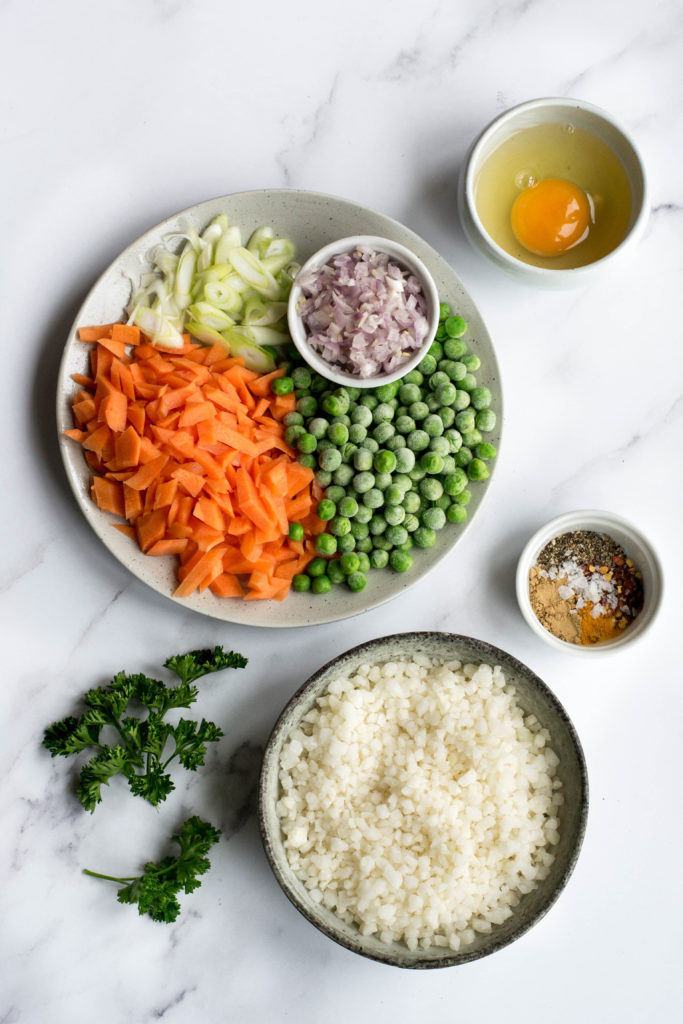 Ingredients for a quick Keto fried rice