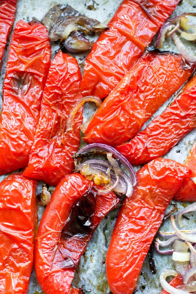 Roasted red peppers and red onion