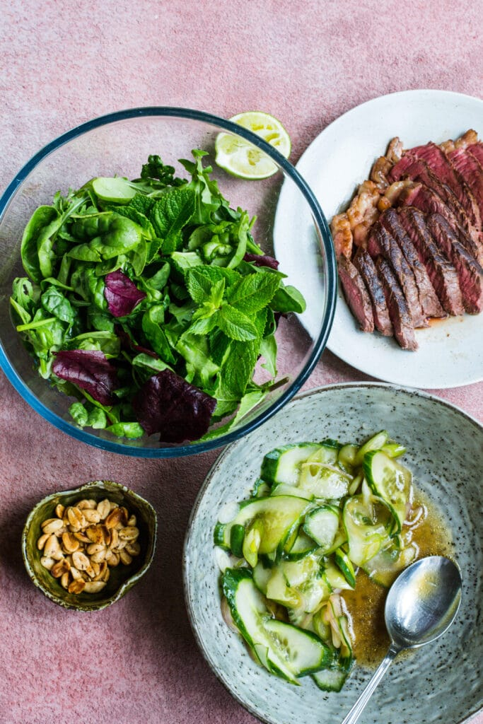 Ingredients for keto Thai-inspired beef salad
