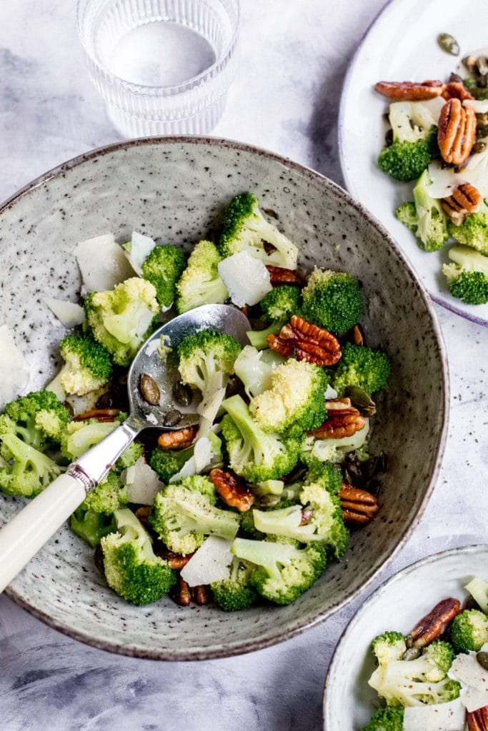 Keto broccoli salad with pecans
