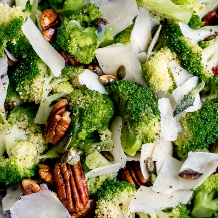 Keto broccoli salad with cheese, nuts and seeds