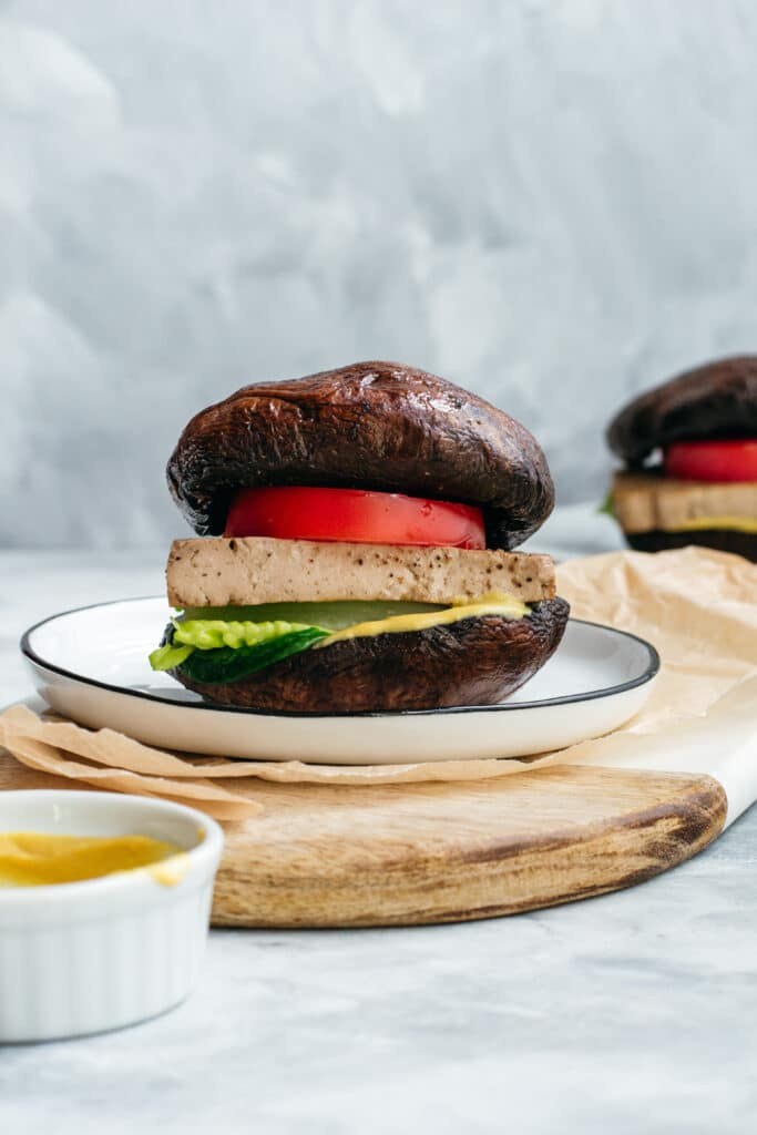 Keto vegan portobello mushroom burger with tofu