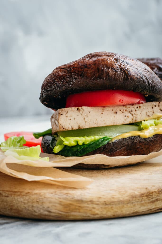 Keto vegan portobello mushroom burger