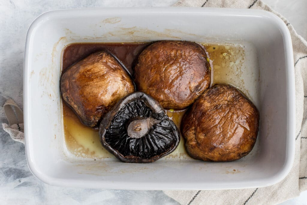 Cooked portobello mushrooms