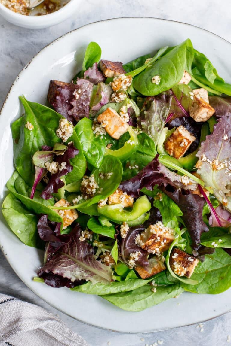 Vegan keto tofu salad with sesame dressing