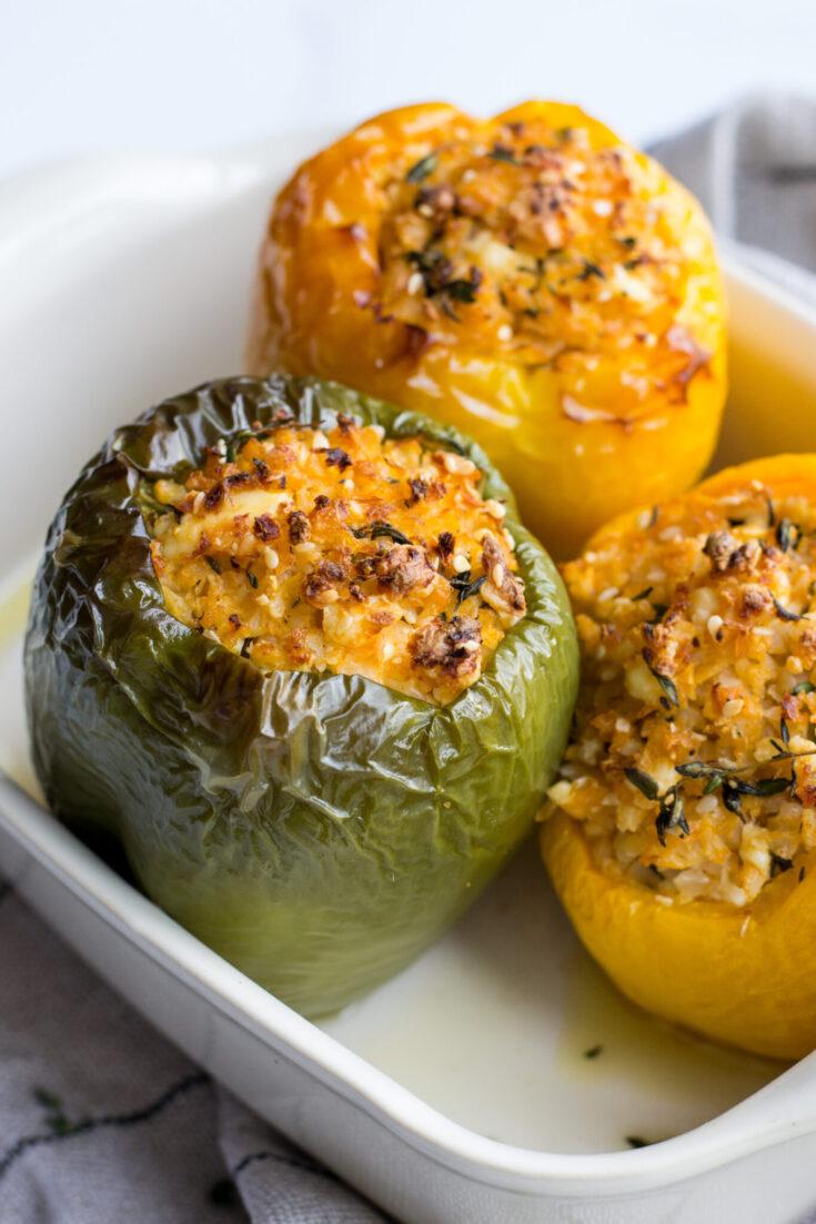 Vegetarian Keto Cauliflower Rice Stuffed Peppers I Eat Keto