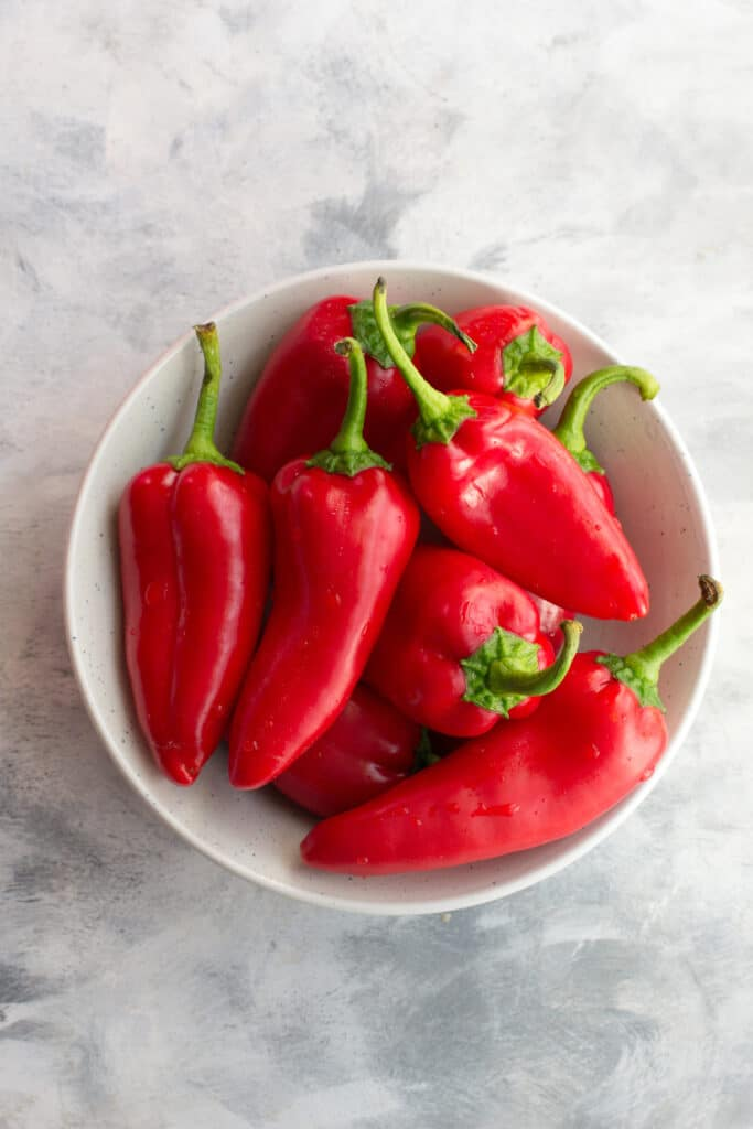 Mini red peppers in a bowl