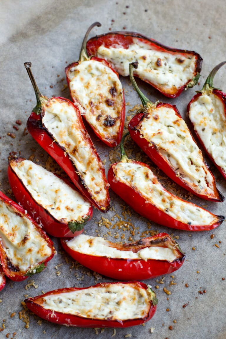 Baked cream cheese stuffed mini peppers