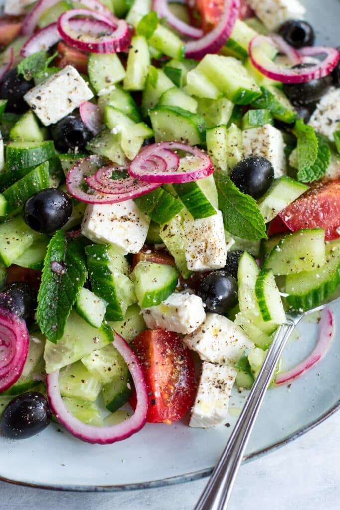 Keto Greek salad on a plate