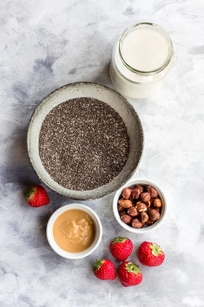 Ingredients for vegan keto chia seed pudding