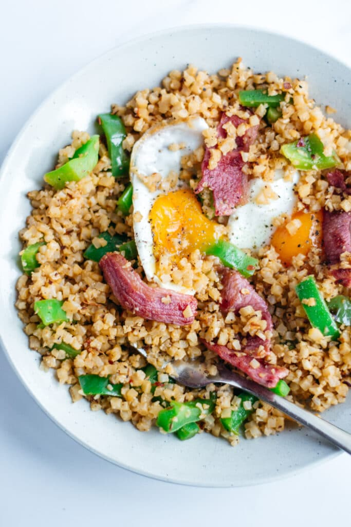 Keto bacon and eggs fried cauliflower rice