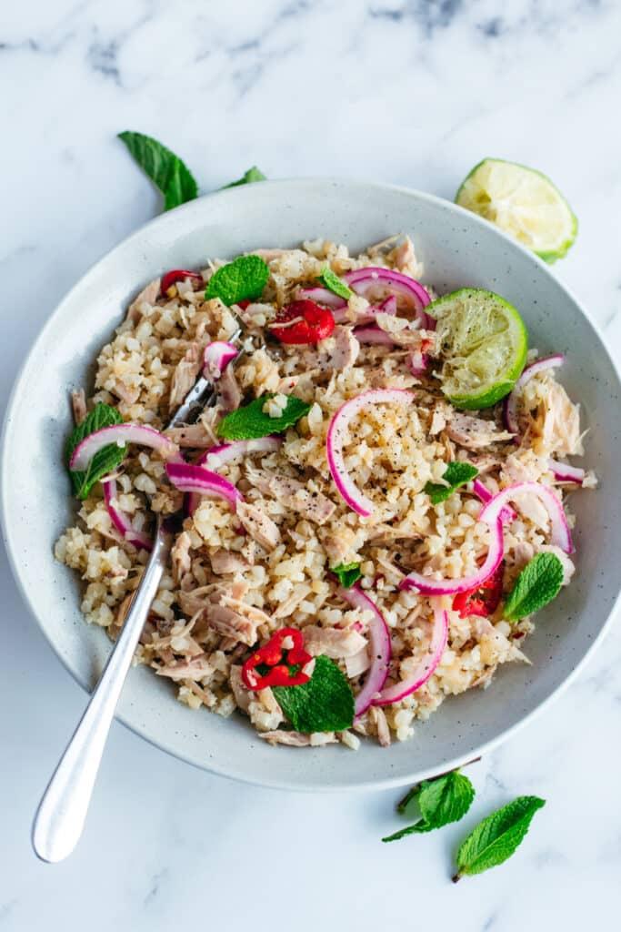 Keto tuna cauliflower rice stir fry