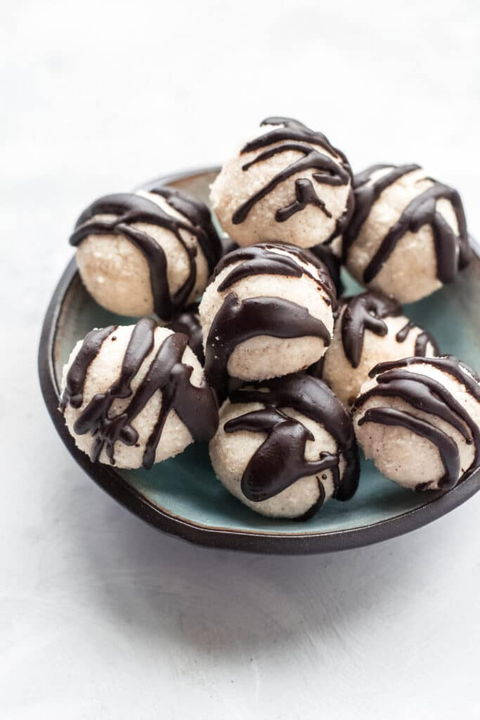 Keto coconut truffles in a bowl