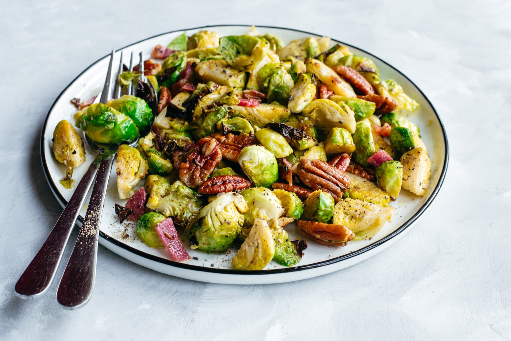 Keto roasted Brussels sprouts with bacon and pecans