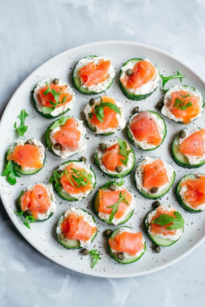 Smoked salmon bites on a plate