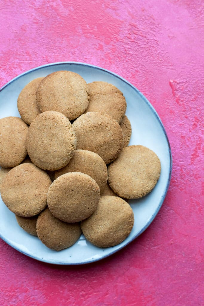 Keto peanut butter cookies on a plate