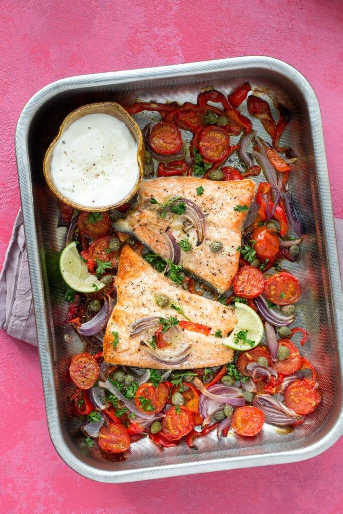 Easy keto one pan salmon dinner