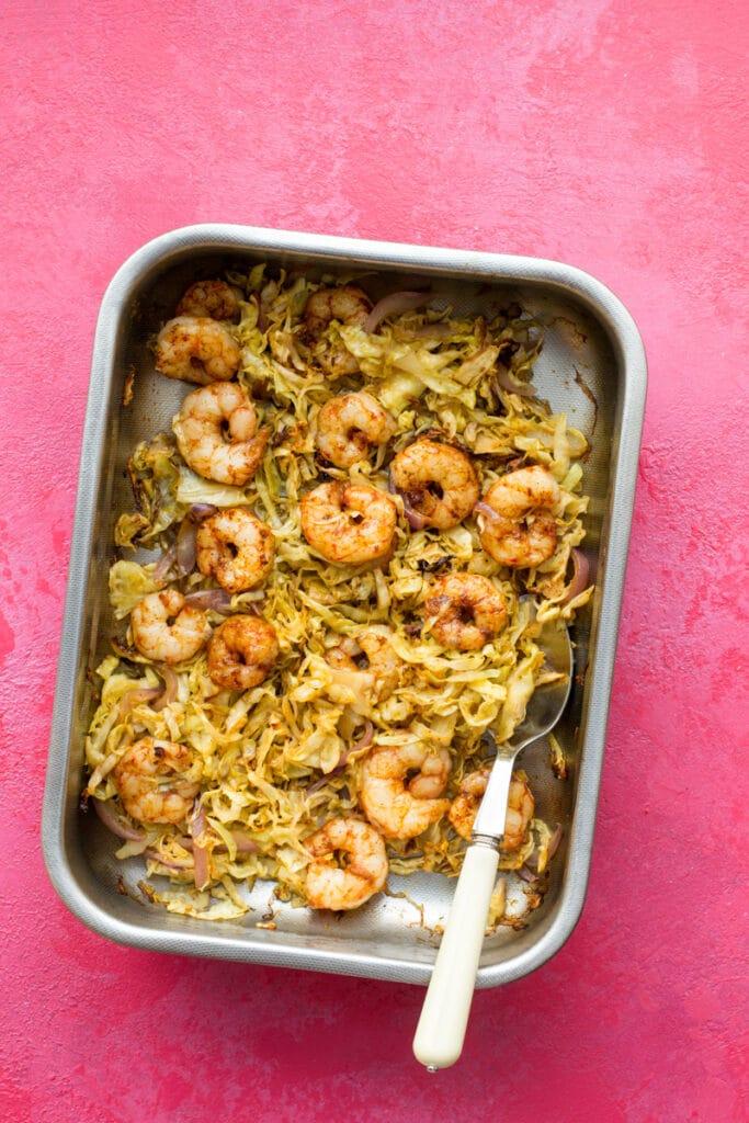 Keto sheet pan shrimp and veggies dinner