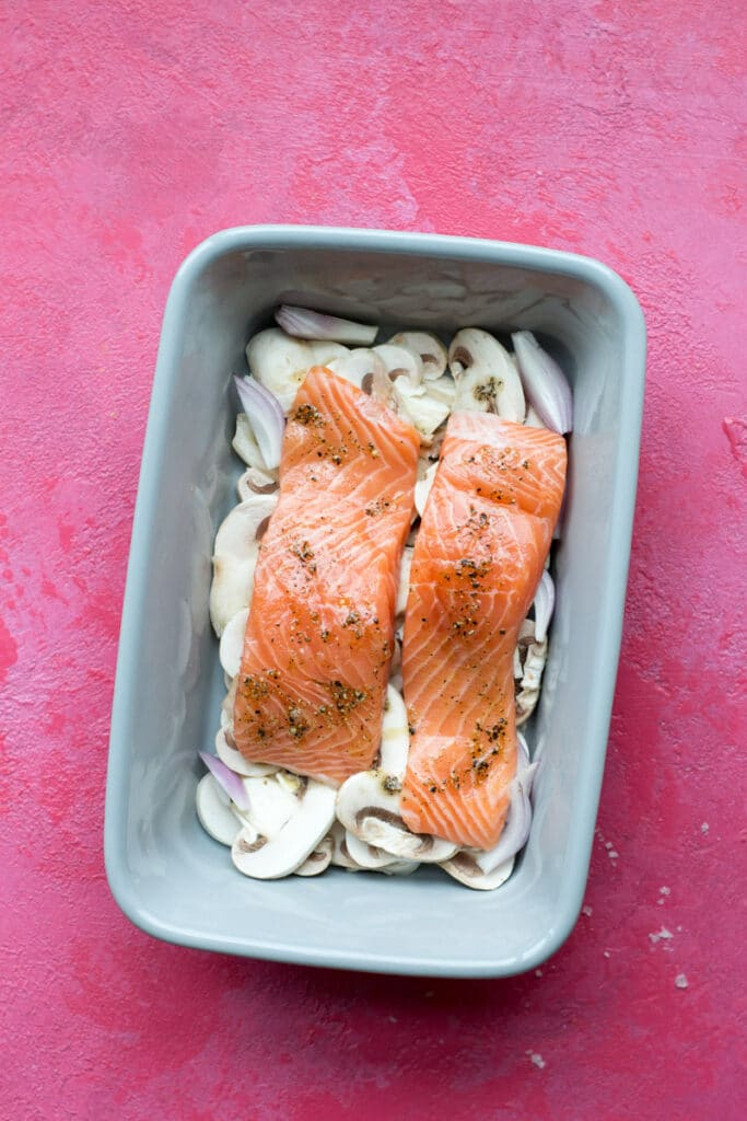 Raw one pan keto creamy salmon
