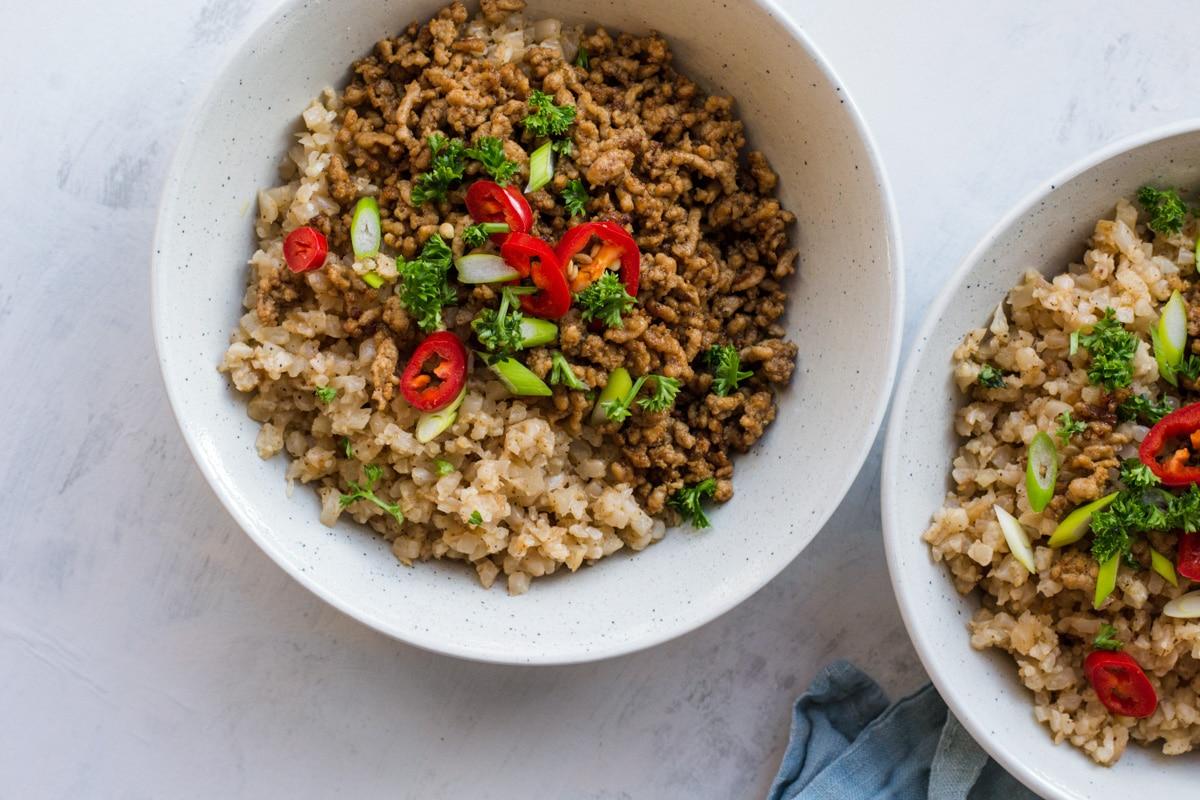 pork stir fry in two bowls