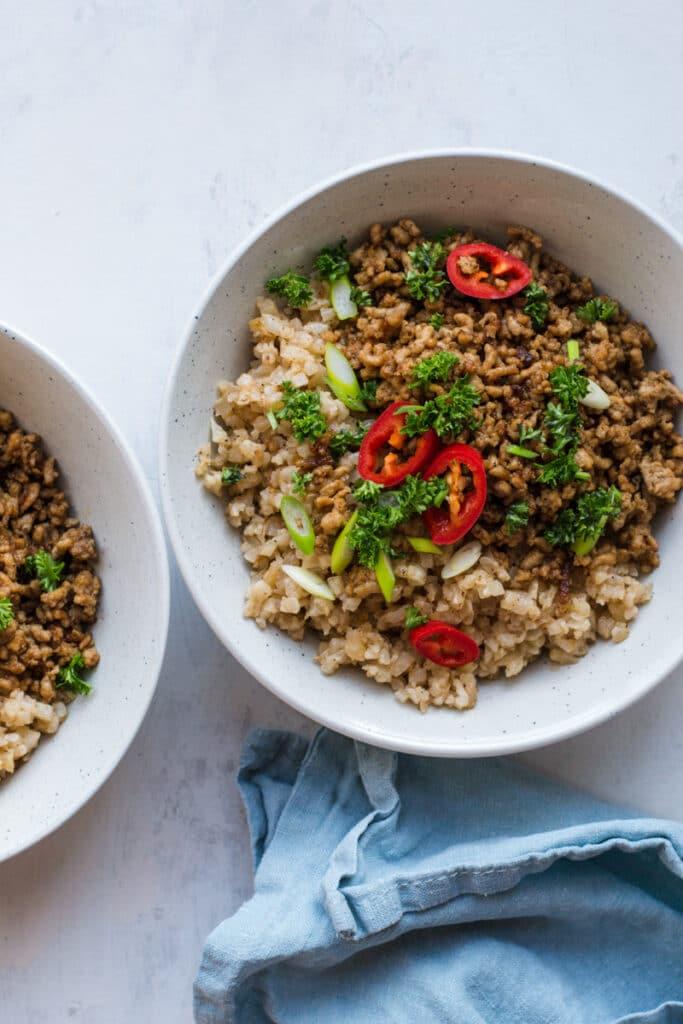Keto pork stir fry with cauliflower rice