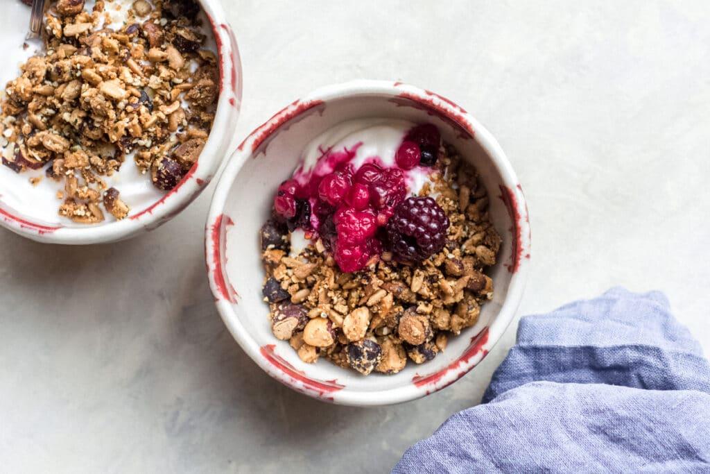 Keto granola with yogurt and berries