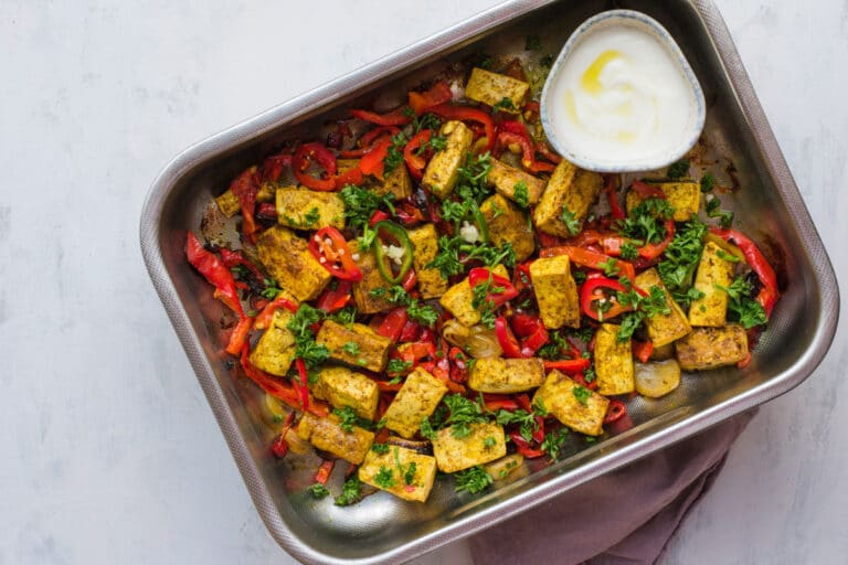 keto sheet pan curried tofu and veggies dinner