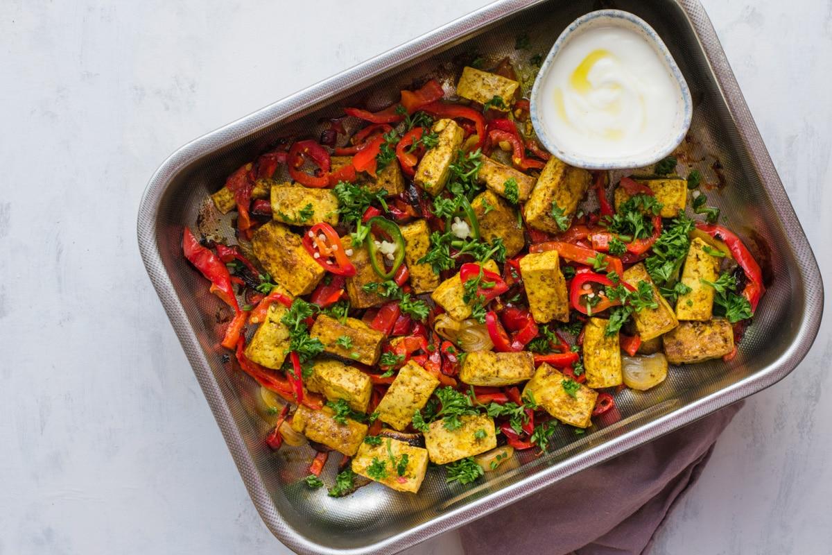 keto sheet pan curried tofu and veggies dinner