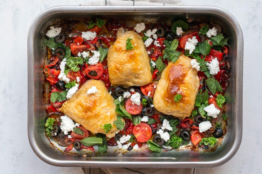 Keto Greek chicken one-tray dinner