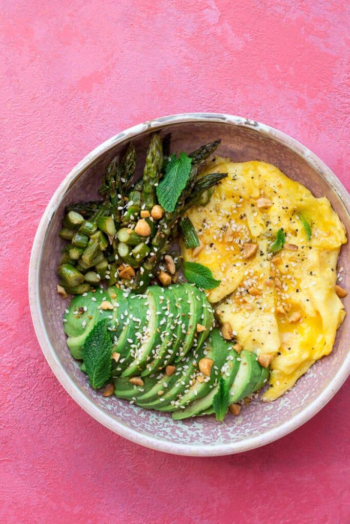 Eggs, avocado and asparagus in a bowl